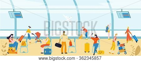 Tourists With Baggage In Airport People, Traveling Passengers, Luggage At International Departure Ve