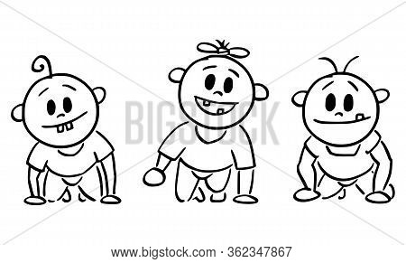 Cartoon Stick Figure Drawing Conceptual Illustration Of Three Cute Smiling Baby Toddlers Or Babies F