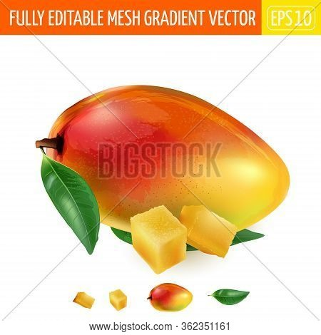 Ripe Mango With Green Leaves And Two Cubes Of Pulp.