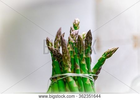 Bunch Of Asparagus Tight Tied With Twine Being Cooked With Steam That Are Because  Low In Calories A