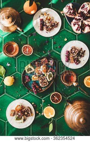 Flat-lay Of Turkish Traditional Lokum Sweet Delight With Turkish Tea