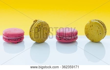 A French Sweet Delicacy, Macaroons Variety Closeup. Macaroon Colourful, Different Types Of Macaroons