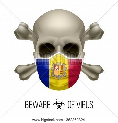 Human Skull With Crossbones And Surgical Mask In The Color Of National Flag Andorra. Mask In Form Of