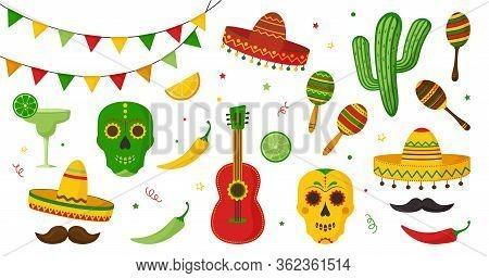 Cinco De Mayo Celebration In Mexico Icon Set, Collection Design Elements. Guitar, Martini, Maraca, P