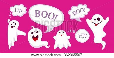 Happy Halloween Empty Banner With Ghost And Speech Bubble Cartoon. Background Holiday Spooky Templat