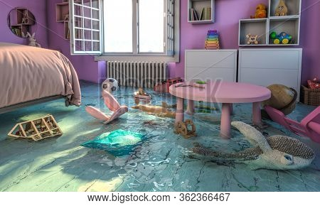 home interior, bedroom with flooded toys. open window, 3d render. nobody around. concept of home problem and disaster.