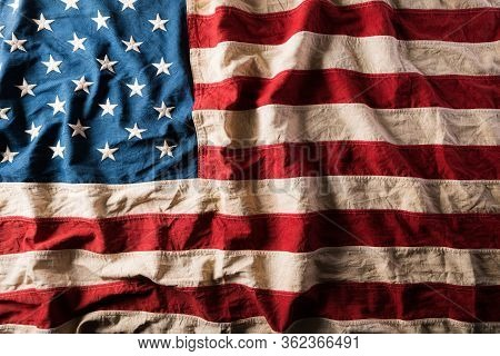 Top View Flag Of The United States Of America On Wooden Background. Independence Day Usa, Memorial D