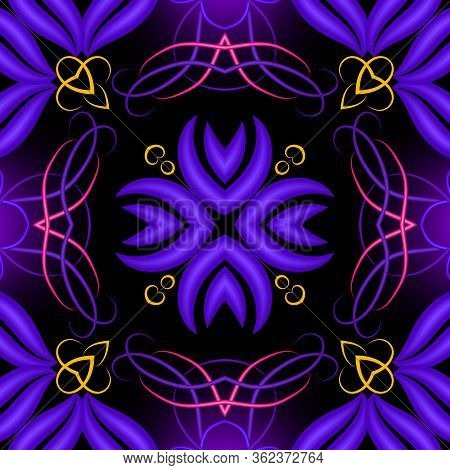 Colorful Illuminated 3d Vector Seaamless Pattern. Floral Glowing Ornamental Background. Repeat Brigh