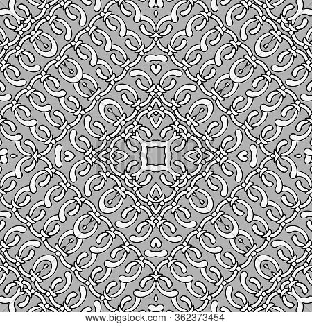 Ornamental Knots Vector Seamless Pattern. Knotted Geometric Background. Repeat Patterned Tribal Ethn