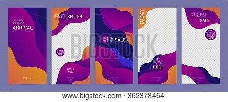 Social Stories Template. Set With Purple Liquid Abstract Funky Design For Business Stories, Photogra