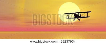 Biplan Upon Ocean