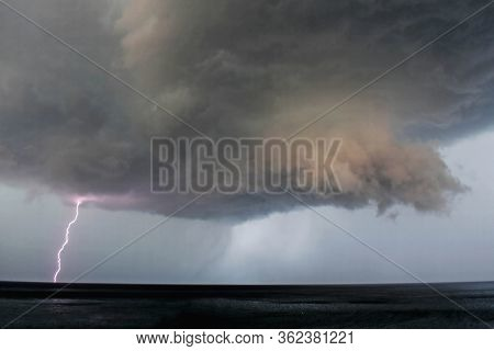 Lightning Bolt Coming From Dark Storm Clouds/ Thunderstorm Clouds With Lightning