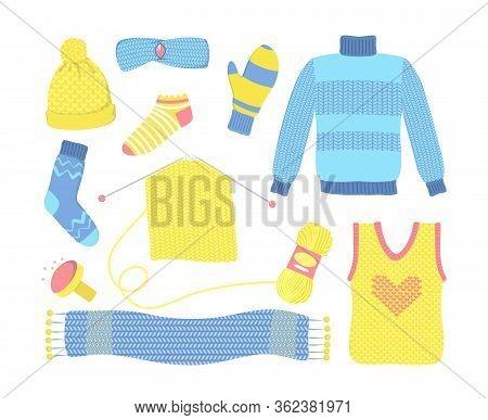 Knitted Seasonal Woolen Clothes Set. Blue Sweater, Yellow Hat, Socks, Mittens, Scarf, Yarn, Needle.
