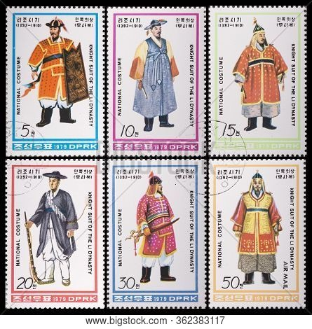 North Korea - Circa 1979: A Stamp Printed In North Korea, Series National Costumes Costumes Of The L