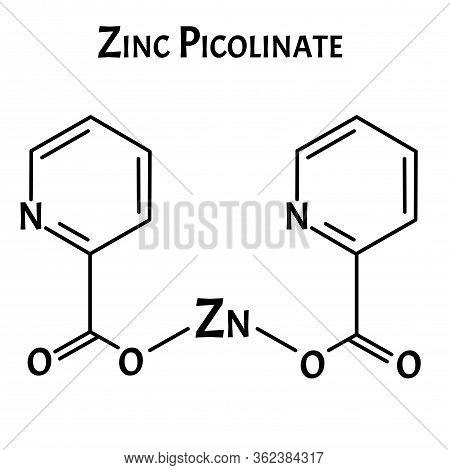 Zinc Picolinate Molecular Chemical Formula. Zinc Infographics. Vector Illustration On Isolated Backg