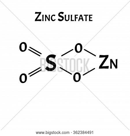 Zinc Sulfate Is A Molecular Chemical Formula. Zinc Infographics. Vector Illustration On Isolated Bac
