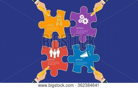 Business Hands Planning. Find A Solution With Puzzle Symbol. Connecting With Puzzle Elements. Vector