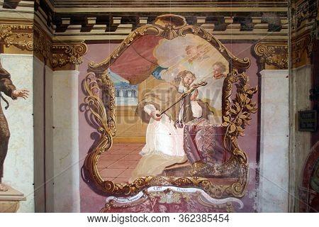 GORICA LEPOGLAVSKA, CROATIA - OCTOBER 08, 2016: Saint John of Nepomuk, fresco in the Chapel of Saint John the Baptist in Gorica Lepoglavska, Croatia