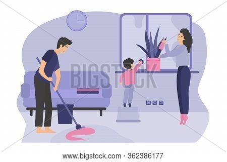 Family With Kid Cleaning House Together. Man, Woman And Boy Doing Household Work, Washing Window, Mo