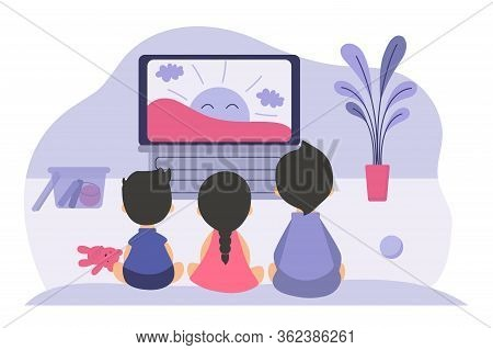 Boys And Girls Sitting At Tv Screen And Watching Cartoon Movie For Children. Vector Illustration For