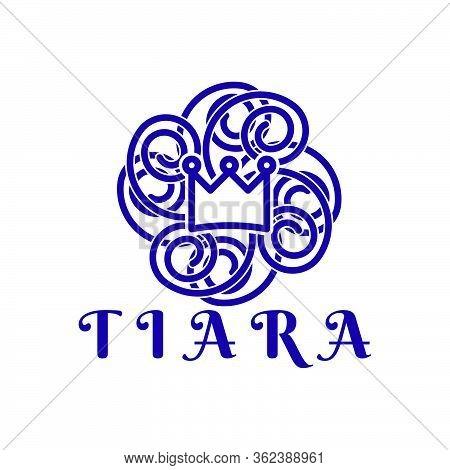 Princes Tiara. Mono Line Logo Ideas. Inspiration Logo Design. Template Vector Illustration. Isolated