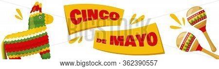 Cinco De Mayo Horizontal Banner, Mexican Traditional Fiesta. Pair Of Maracas And Donkey Pinata. Vect