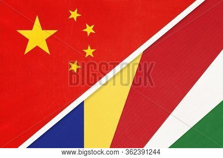 China Or Prc Vs Seychelles National Flag From Textile. Relationship Between Asian And African Countr