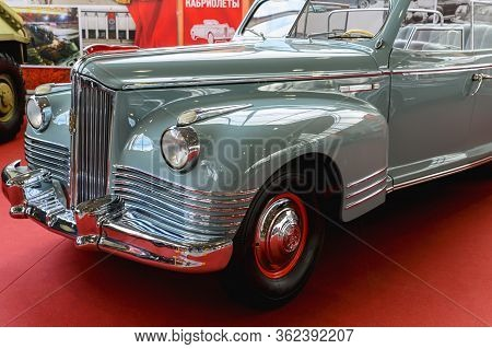 Russia, Moscow, March 8, 2020. Exhibition Of Vintage Cars. Old Soviet Limousine Convertible For Part