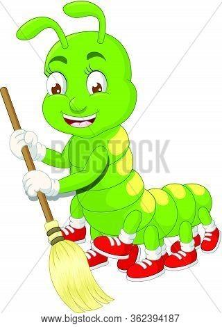 Green Caterpillar Sweeping With Broowm Cartoon Vector Illustration