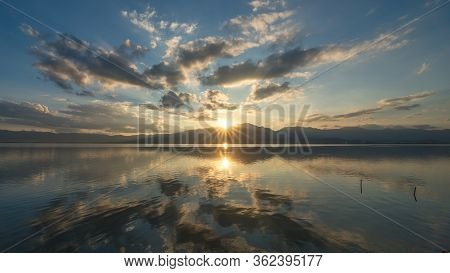 The Scenery Of The Reflection Of Kwan Phayao Lake In Sunset Time In Phayao Province, Thailand.