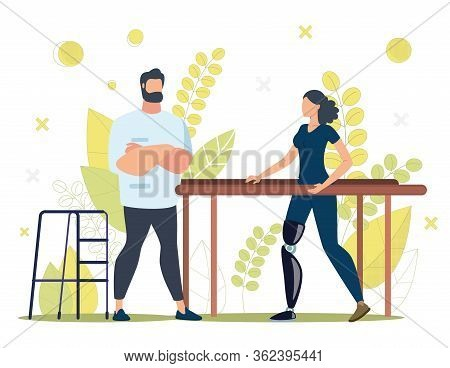 Disabled People Rehabilitation Trendy Flat Vector Concept. Woman With Disability, Learning To Walk O