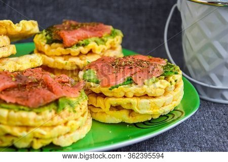 Snacks From Rice Cookies, Salmon, Avocado And On Plate, Healthy Snack , Breakfast, Vegetarian Food,