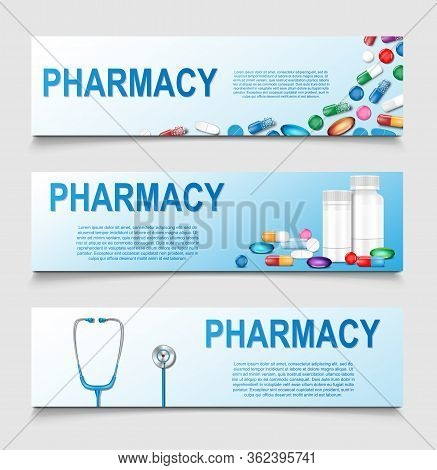 Pharmacy Poster Design. Banner For Medical Or Healthcare Presentation And Advertising. Medical Drugs