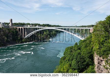 Rainbow Bridge At Niagara Falls, Usa And Canada Border