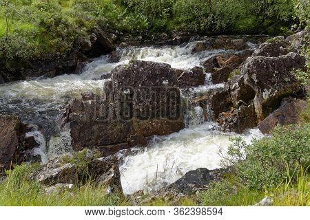 Rapids On River Bà Below Bà Bridge, Rannoch Moor, Highland, Scotland, Uk  Viewed From West Highland