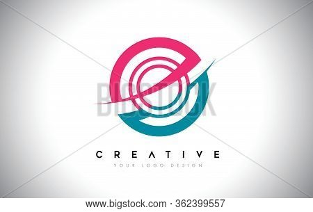 O Letter Design Logo Icon With Circle And Swoosh Design Vector And Blue Pink Color.