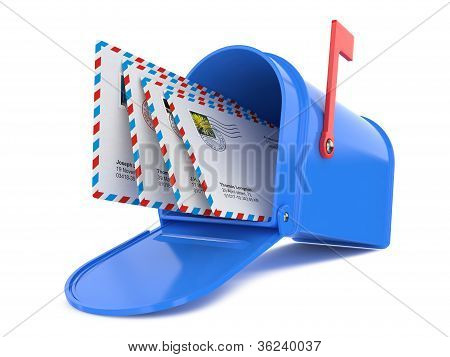 Blue Mailbox with Mails Isolated on White poster