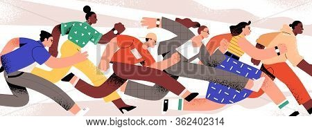 Group Of Colorful Runners People Isolated On White Background. Cartoon Jogging Male And Female In Mo