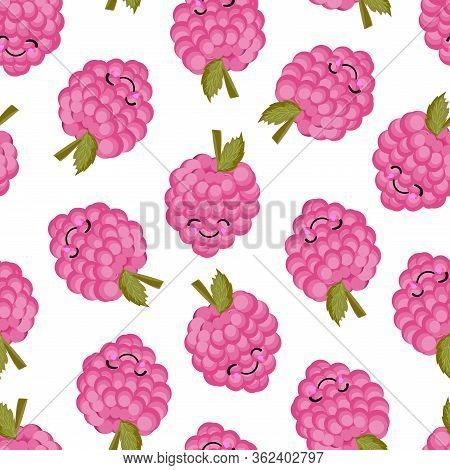 Berries Pattern. Ripe Raspberry Pink. Vector Illustration. Design Of Childrens Textiles..