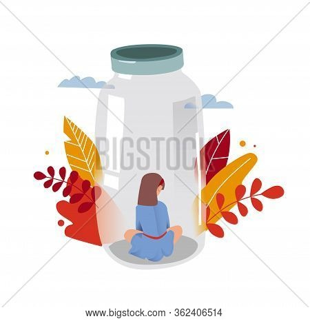 Autism. Child Behind The Glass. Early Signs Of Autism Syndrome In Children. Vector Emblem. Children