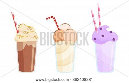 Set Of Three Colorful Milkshakes In Glasses With Tubes Made With Different Ingredients. Vector Illus