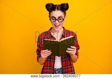 Photo Of Funny Crazy Lady Hold Book Read Interesting Story Novel Open Mouth Intrigue Moment Wear Gee