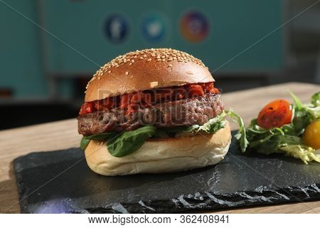 Nice Hamburger Tasty Beef With Letuce With Nobody