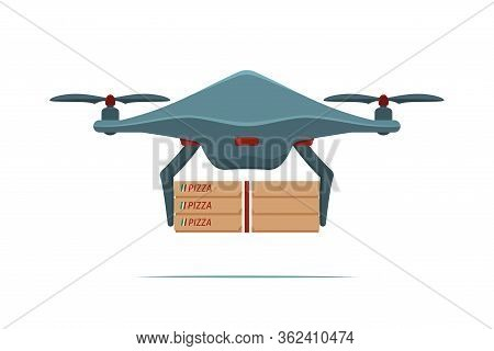 Drone Delivers а Pizza. Non-contact Delivery Concept. Remote Air Drone With Pizza Boxes. Contactless