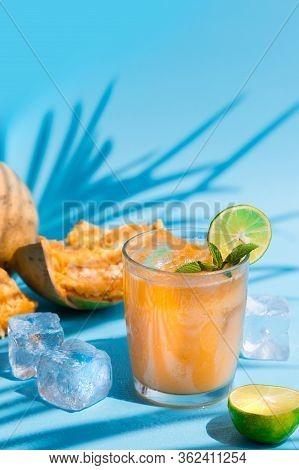 Exotic Fruit Juice From Bel Fruit Or Wooden Apple - Bel Ka Sharbat. Cold Fruit Drink With Ice, Bel F