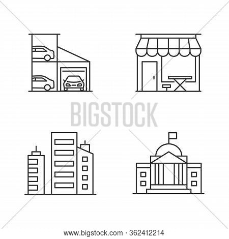 Industrial Buildings Pixel Perfect Linear Icons Set. Multistorey Car Parking Lot. Cafe Storefront. C