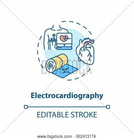 Electrocardiography Concept Icon. Heart Screening, Medical Examination Idea Thin Line Illustration.