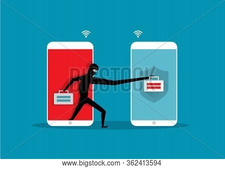 Hackers Attack. Cyber Thief Robbing Change Password Data On Smartphone .