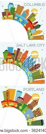 Portland Oregon, Columbus Ohio and Salt Lake City Utah Skylines Set with Color Buildings, Blue Sky and Copy Space. Business Travel and Tourism Concept with Historic Architecture. Cityscapes.