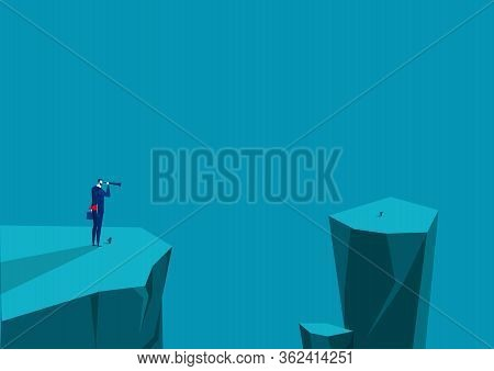 Businessman Looks In Telescope At Top Mountain.leadership Vision Telescope,